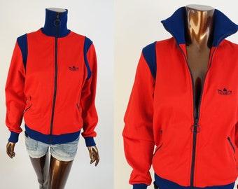 431feb4ef5a Vintage 70s Adidas Jacket - 1970s 80s Nylon Zip Front Trefoil Track Top -  Size S/M