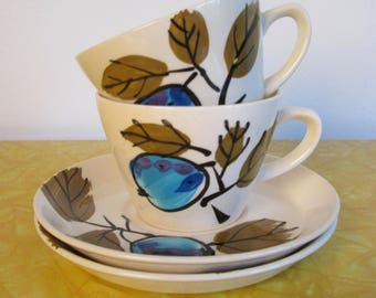 1960s 70s Vera Neumann Forbidden Fruit Cup and Saucer Sets / Island Worcester Painted Plum Dishes