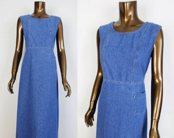 fab047a6449 Vintage Denim Jumper DRESS 80s 90s Blue Jean Maxi Dress Point Zero Nicole  Benisti Pinafore Dress - Womens M