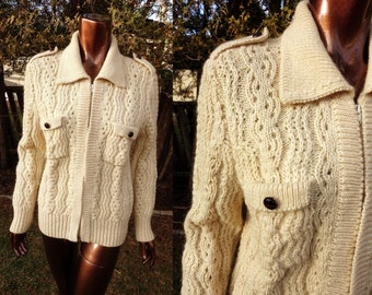 Vintage 80s  Ivory Cable Knitted Jacket Knit Women Cardigan Chunky Aran Knit Grandma Cardigan Winter Sweater Jacket Gift for Mom Size Medium