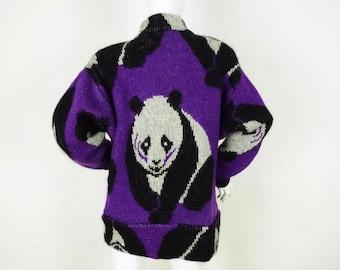 64b896cdb6e5 Vintage Panda Sweater Coat Wool Mohair Cardigan Sweatercoat Oversized  Purple Knit Jacket - Womens M/L