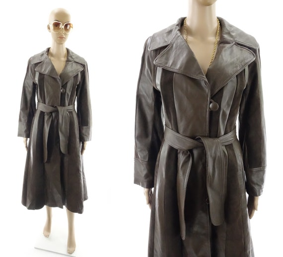 Vintage 70s Leather and Suede Coat Long Brown Tren