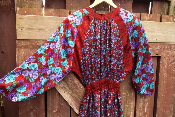 Vintage DIANE FREIS Dress 80s Floral Dress Gypsy G