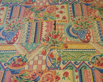 Vintage 90s COLLIER CAMPBELL 'Gypsy Dance' Queen Duvet Cover - Whimsical Art Bedding