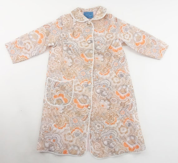Vintage 70s Quilted Robe Floral Print Housecoat B… - image 6
