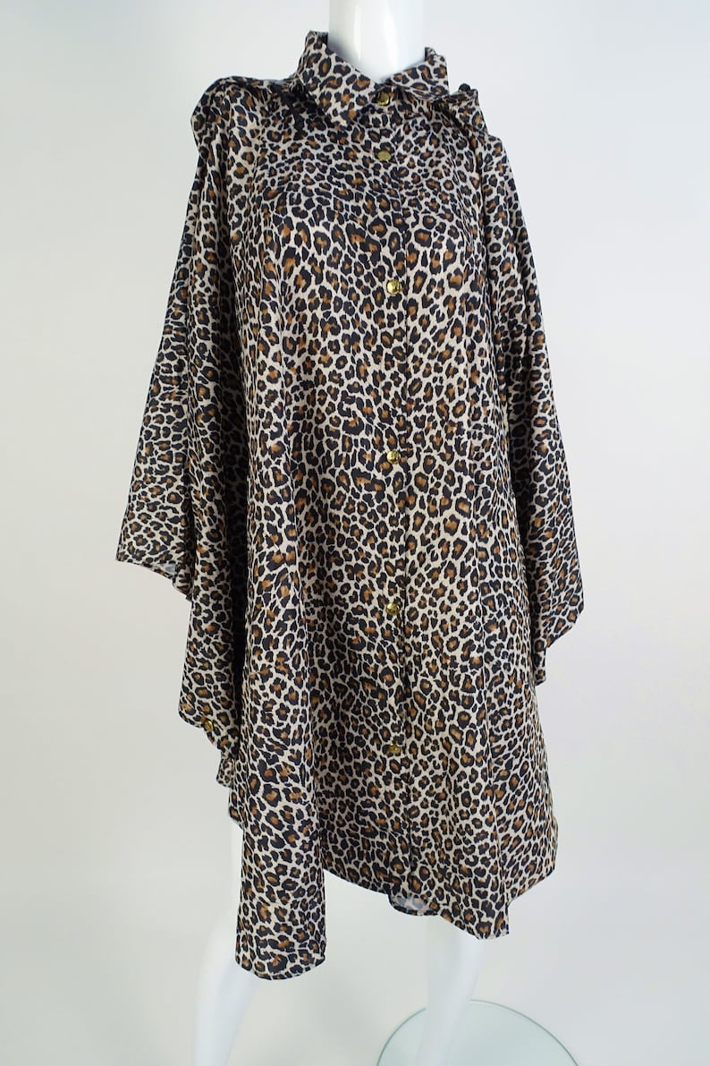 20d8eb167c38 PORTOMORO Vintage Leopard Print Raincoat Poncho Hooded Jacket | Etsy