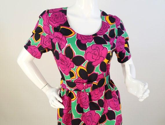 GUY LAROCHE Vintage 80s Bold Floral Print Dress Si