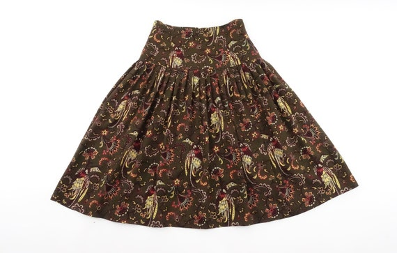 Vintage MONDI Bird Floral Paisley Print Wool Skirt