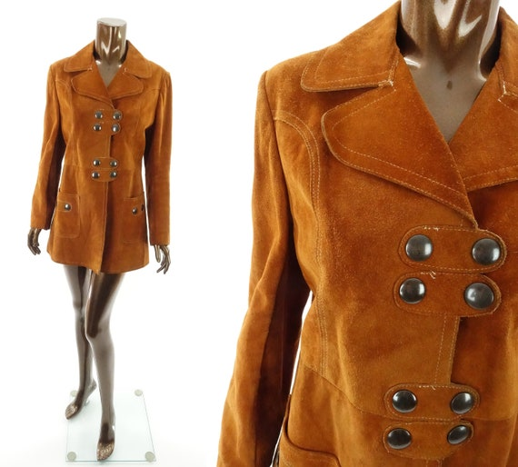 Vintage 60s 70s Suede Leather Jacket Hippie Boho C