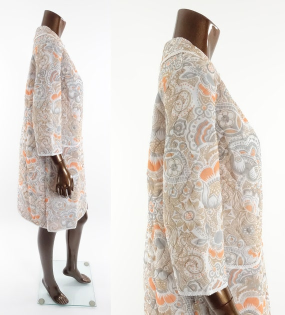Vintage 70s Quilted Robe Floral Print Housecoat B… - image 3