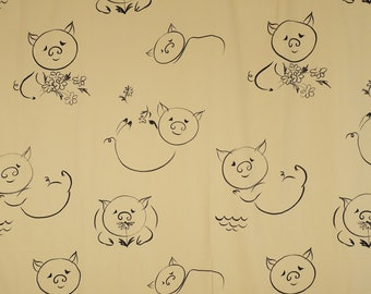 70s PIG SHEET Double Bed Sheet Vintage Springmaid Alex West Piggy Print Flat Bedsheet
