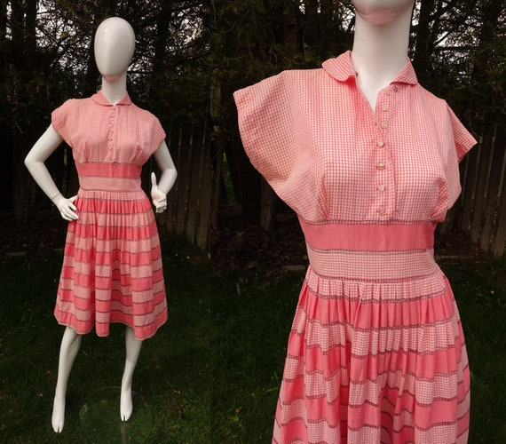 Vintage 40s Gingham Dress 50s Pink and White Check