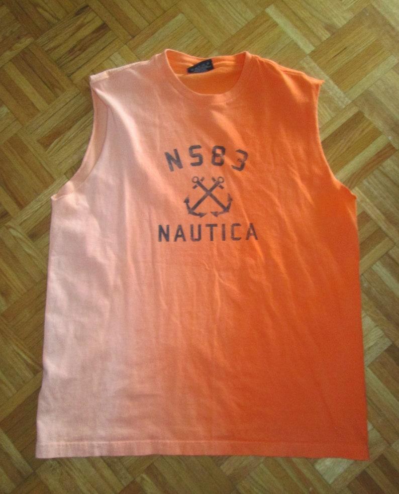 0efa2a66e68cb Vintage 90s NAUTICA Sleeveless Graphic T Shirt   Orange Ombre