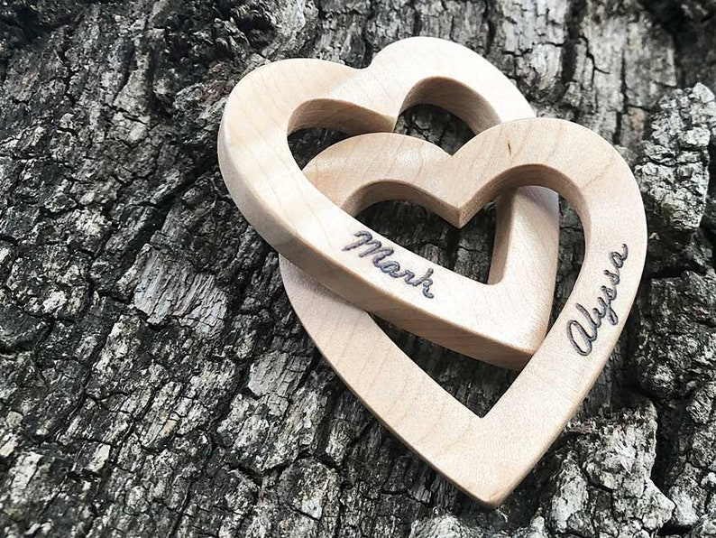 Personalized Interlocking Wood Hearts Smaller Scale Perfect image 0