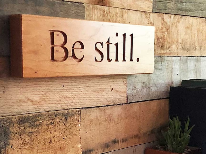 Be Still Wall Hanging Sign in Solid Cherry Wood image 0