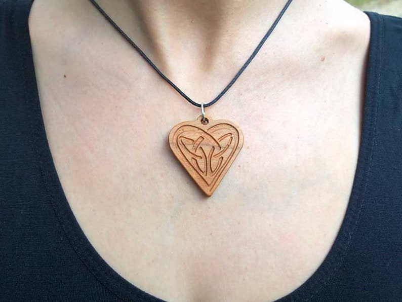Celtic Knot Heart Pendant in Solid Cherry Wood image 0
