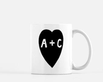 Custom couple mugs/Customized Monogramed Mug/Personalized Couple Initial Mug Set/Custom Wedding Gift Ideas/Customized Gift for Them/Name Mug