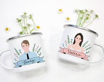 Custom Couple Portrait Mug Set/Personalized Portraits Gifts/Cartoon Boyfriend and Girlfriend Mugs/Personalized Birthday Gift for Boyfriend