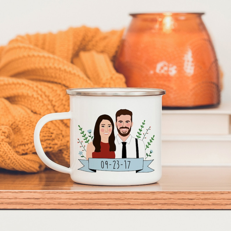 Custom Portrait Mug/Personalized Wedding Gift/Long Distance image 0