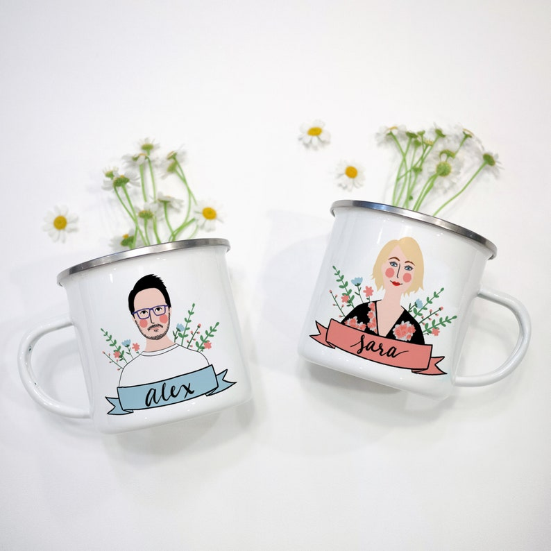 Couple Portrait Mug Personalized/Engagement Gift for bride/His image 0