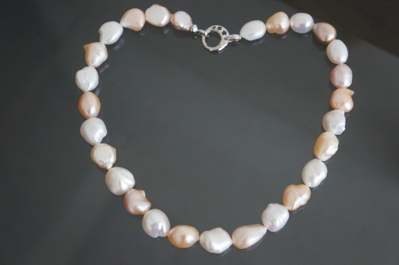 keshi pearl choker necklace with splendid luster and free of blemish 14*16mm Extraodinary multicolor large Eye-popping choker necklace !