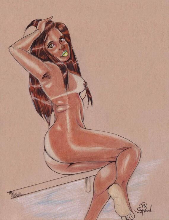 Brazilian Mature - Brazilian Girl (Mature) Nude Pinup 9 x 12 Colored Pencil Drawing (OOAK)