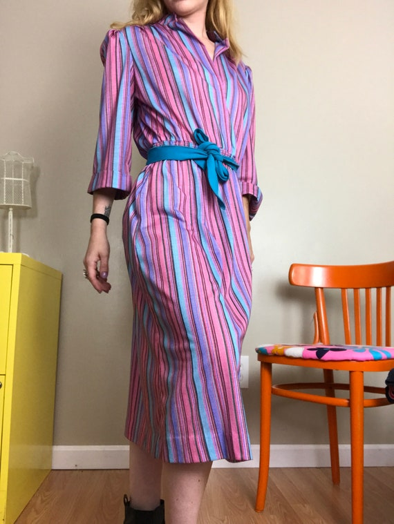 belted summer dress small to medium 60s 70s candy pink stripe dress with belt