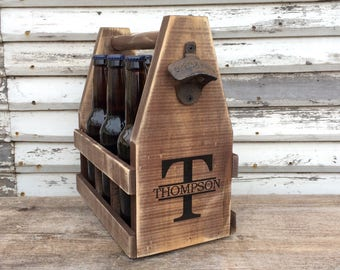 Men's Six Pack Wooden 12oz Beer Caddy Personalized With Bottle Opener, Beer Tote