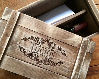 Time Capsule Wedding Wine Box Personalized for the Bride and Groom