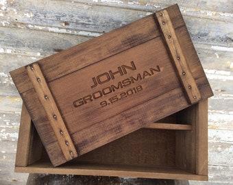 Personalized Beer and Whiskey Boxes for Groomsmen Gifts