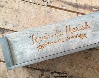 Wedding Ceremony Wine Box, Engagement Gift for Couples