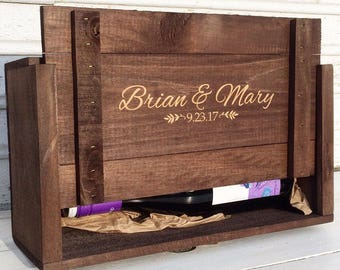 Personalized Wine Box  for Weddings Ceremonies and Anniversary Gifts Holds Two Wine Bottles