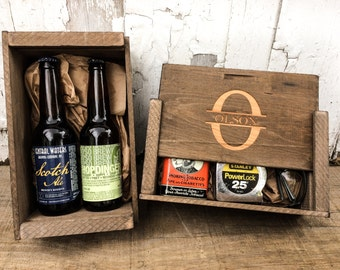 Homebrewing 12oz Beer Wooden Gift Box, Groomsman Gift