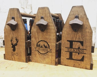 6 Pack 12oz Beer Tote, Personalized Wooden Beer Carrier for Dad and Groomsmen Ready to Ship Father's Day Gift