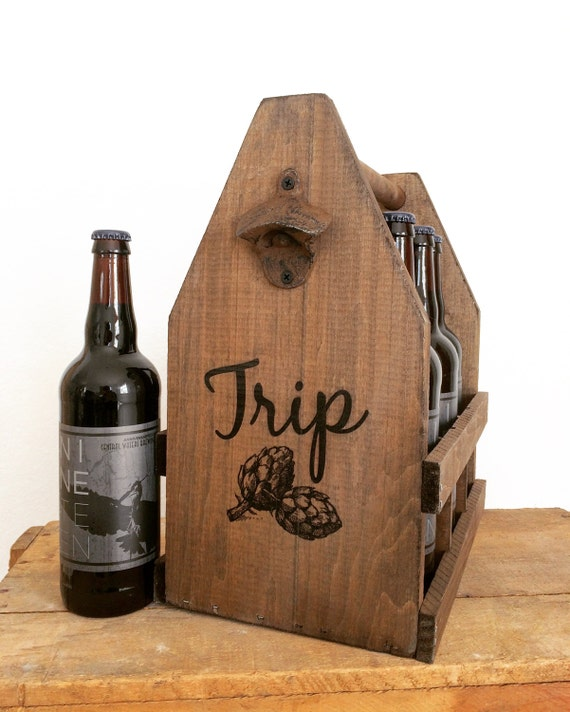 Craft Beer Exchange Large 22oz Bomber Beer Tote, 750ml Wooden 6 Pack Tote  for Wine & Liquor Bottles Too