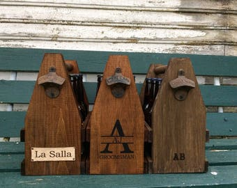 Wooden 6 Pack Beer Carrier Personalized Rugged Men's Gift Beverage Tote