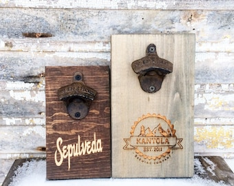 Custom Bottle Opener Personalized with Cast Iron Opener