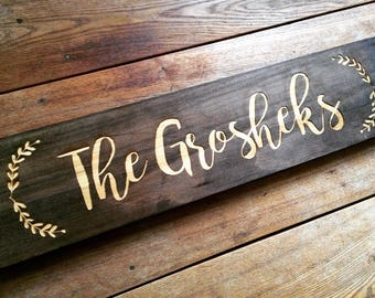 Farmhouse Wood Family Last Name Sign, Personalized Wedding Gift