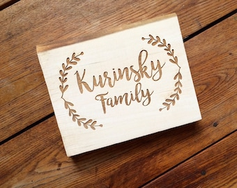 Wood Family Last Name Sign, Wedding Gift, Table Sign