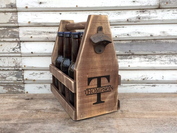 Men's Wooden Six Pack Beer Caddy Personalized With Bottle Opener