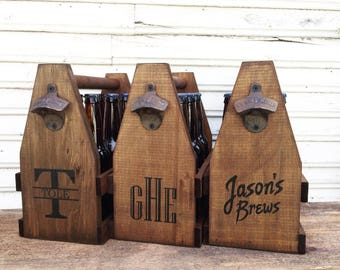 Six Pack Beverage Caddy USA Free Shipping, 12oz  Personalized Wooden Beer Carrier for Men