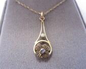 Vintage Art Deco 14K Gold Seed Pearl Shamrock Necklace