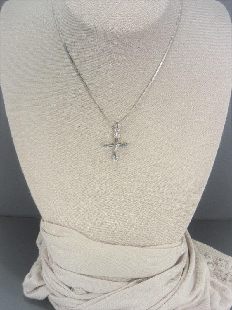 Vintage Sterling Rhinestone Cross Necklace