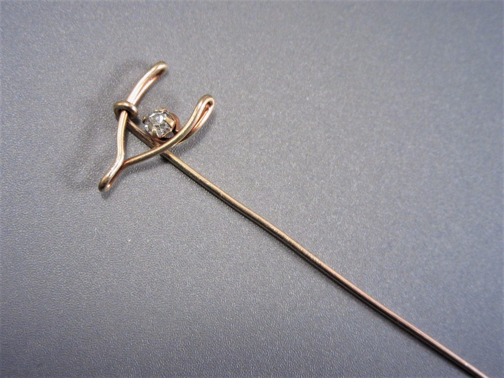 Beautiful Brass and Stone Stick Pin