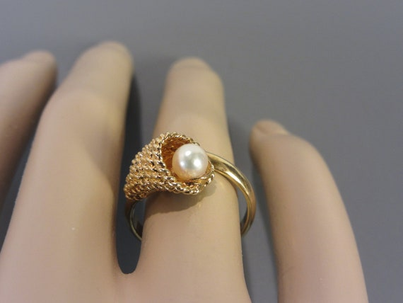 Sarah Coventry Cultured Pearl Ring Vintage - image 3
