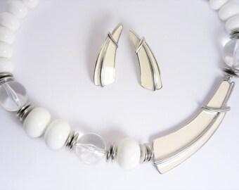 Vintage Trifari Necklace Earrings Jewelry Set Demi Parure