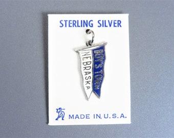 Vintage Enamel Sterling Boy's Town Pennant Flag Charm