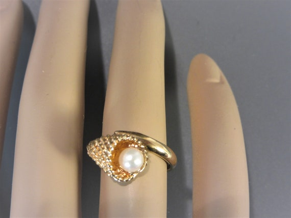 Sarah Coventry Cultured Pearl Ring Vintage - image 2