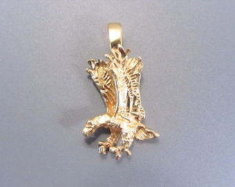 Vintage Diamond Cut Eagle Pendant for Necklace