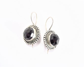 Vintage Sterling Silver Faceted Black Glass Wire Earrings